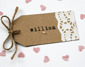 Rustic Doily and Pearl Wedding Place Card Tag With Twine Bow, Eco Kraft, Shabby Chic