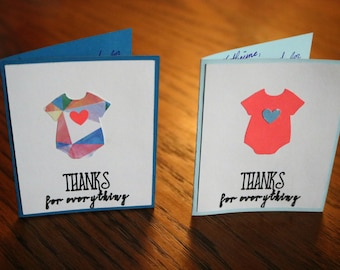 Baby Shower Thank You Cards - Onsie