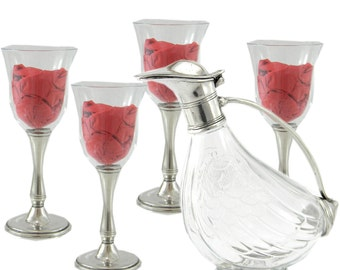 Glass and pewter paper bottle set with four goblets for glass and pewter wine
