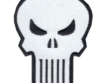 Official Star Marvel Universe Comics Defenders The Punisher Skull Logo Iron On Embroidered Patch (Retro)