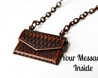 Envelope Pendant/ Locket Necklace/ Custom Message/ Personalized Jewelry/ Quote Necklace/ Antique Brass