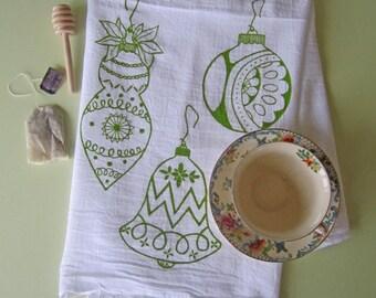 Tea Towel - Screen Printed Flour Sack Towel - Kitchen Towel - Christmas Ornaments - Flour Sack Towel - Holiday Decor - Christmas Tea Towel