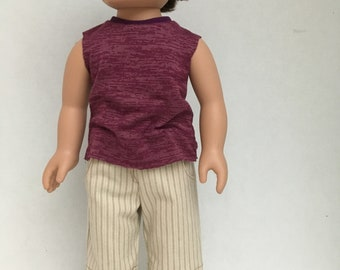 "18"" doll Muscle Shirt variegated Maroon"