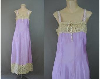 Vintage 1920s Purple Silk Nightgown or Long Slip, 34 bust, Wide Cotton Lace, Antique Lingerie