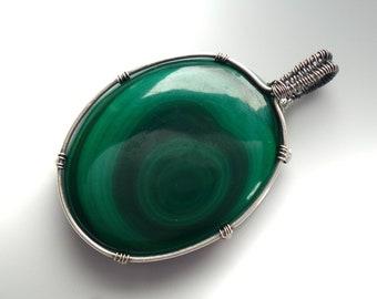 Pendant with malachite, 45 mm, unique, pendant malachite-wire wrapped solid sterling silver