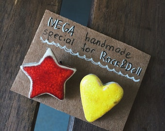 Set of 2 ceramic brooches Heart and Star