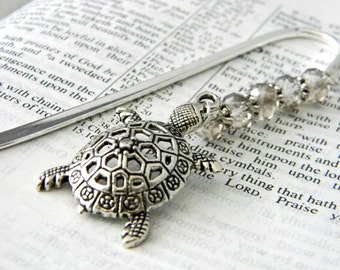 Turtle Bookmark with Smoky Quartz Glass Beads Shepherd Hook Steel Bookmark Silver Color