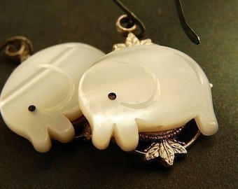 White Elephant Drop Earrings, drop earrings white elephant oxidized stelring silver earrings, animal jewelry
