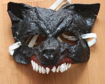 Wolf Half Mask | Paper mache Mask | Costume