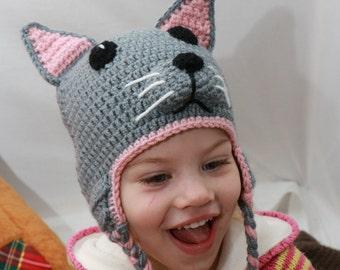 Gray Cat Hat, Crochet Baby, Cat Beanie, Toddler Hat, Earflap Beanie, Handmade Hat, Birthday Gift, Photo Prop, Animal Hat, Baby Beanie