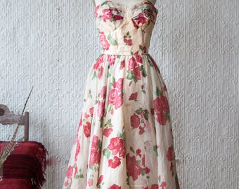 Perfect Rose Printed Tulle 50's Gown