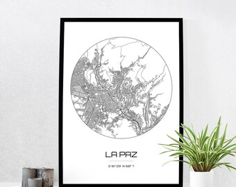 La Paz Map Print - City Map Art of La Paz Bolivia Poster - Coordinates Wall Art Gift - Travel Map - Office Home Decor