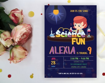 Science Fun Party Invitation for girls, Chemistry Invite,Science Invitation, Experiment Birthday, Any hair color, Digital