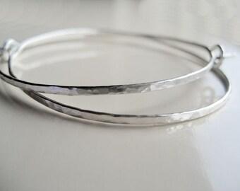 Sterling silver hammered hoop earrings, 2 inch - 18 gauge Argentium Sterling