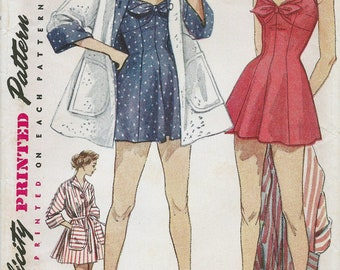 50s Simplicity 4307 Misses' One Piece Bathing Suit and Beach Coat Sewing Pattern UNCUT
