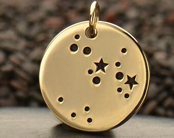 SAGITTARIUS Natural Bronze Zodiac Constellation Disc - Add A Chain Option Avaliable - Insurance Included