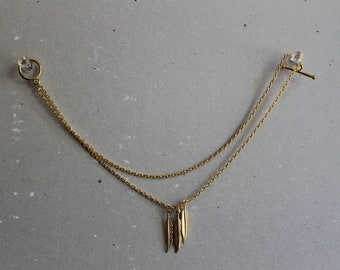 Gold Anklet with gold feather accents