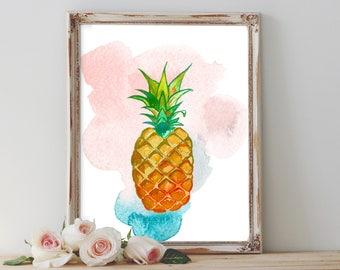 Or imprimé ananas, décor ananas, ananas art estampes, décoration tropicale, Digital art, décoration murale, cadeau pour elle, décor de la cuisine
