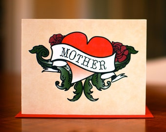 Badass Mother Heart Tattoo Mother's Day or New Baby Card on 100% Recycled Paper