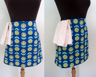 Royal Blue Bistro Apron with Tulips, Waitress Apron, Blue Half Apron with Pockets and Towel Loop, Vendor Apron, Craft Apron, Color Me Retro