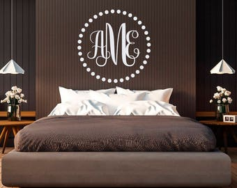 Personalized Monogram Wall Decal Initial by FabWallDecals - Family Monogram Wall Decal Letters Nursery Living Room Bedroom Home Decor M027