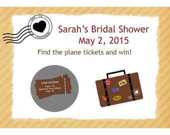 24 Bridal Shower Scratch Off  Game Cards - - Love Is Everywhere Design - Travel Theme