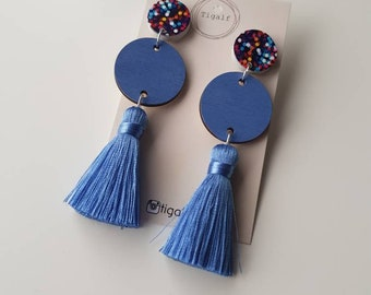 Wood & Tassel Earring