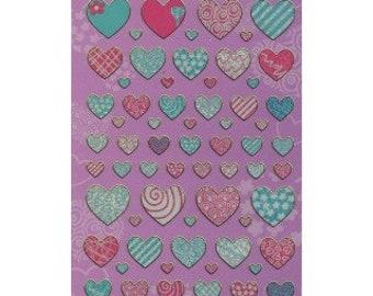 Pattern Hearts Sparkle Stickers