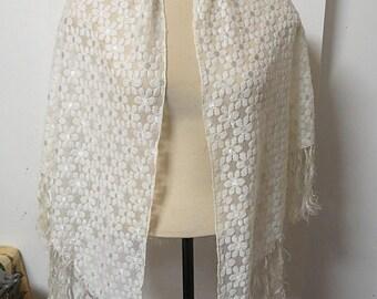 Vintage White Lace Shawl  #087