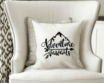 Adventure Awaits Pillow Cover, Throw Pillow, Adventure Awaits, Adventure Awaits Pillow, Mountain Pillow, Adventure Home Decor, Mountains