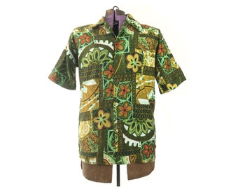 Hawaiian shirt mens, vintage Hawaiian shirt, aloha shirt, green, 1960s shirt, 60s shirt, tiki print, Hawaii, men's shirt, vintage clothing