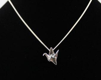 Silver Origami Crane Pendant,Paper Crane Jewelry,Valentines Day,First Anniversary Gift,Origami Crane Necklace,Paper Anniversary,3D Printed