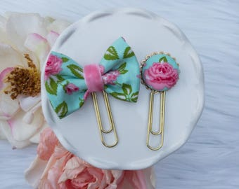 Dainty Planner Clip in Teal and Rose