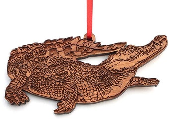 Siamese Crocodile Ornament - Impressive River Monster Siamese Crocodile Wood Ornament