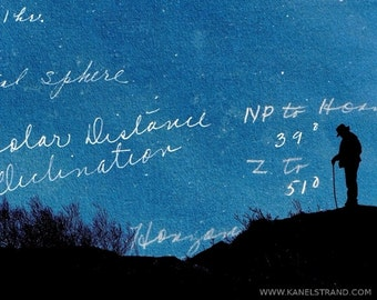 Fantasie, Kunst, surreal Fotodruck, Traumlandschaften, Nachthimmel, Mann Silhouette, 8 x 10