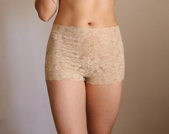 High Waist Lace Beige Panties. Lace Skin Tone Panties. Nude Color Floral Lace Inserts. Boho fashion