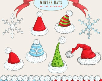 Santa Hat clipart, Christmas clip art graphics, winter hats green red and blue with snowflakes commercial use by SLS Lines