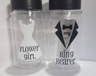 Personalized wedding tumbler| ring bearer gift| flower girl gift| ring bearer or flower girl tumbler| personalized water bottle