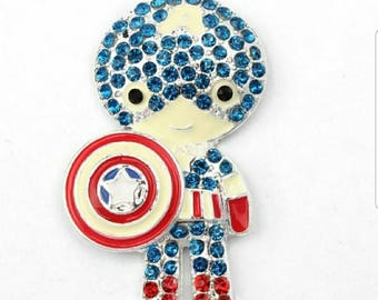Captain America - super hero  Rhinestone pendant dancer