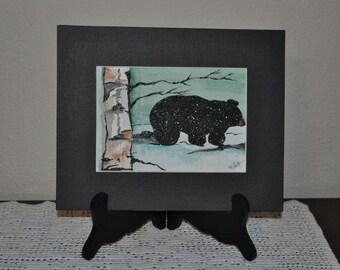 Winter Black Bear Original Watercolor Painting