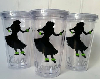 Personalized Tumbler with Straw - Hula Girl - Hawaiian - Hula Dancer