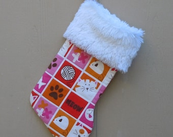 Christmas Stocking for Your Cat in Cute Meow Print