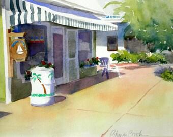 "Original Watercolor ""Street Scene in Fairhope"""