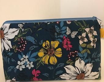 Teal Floral Make Up/Cosmetic Bag