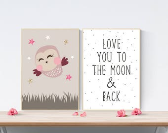 Set of 2 Cute Night Owl Prints | Love You To The Moon | Stars | Nursery Wall Art Quote | Girl's Children's Room Decor Picture Posters