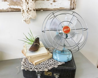 Zero Vintage Fan| Mid Century Fan| Industrial Decor| Antique Electric Fan| Blue Retro Fan| 1960s Desk Fan