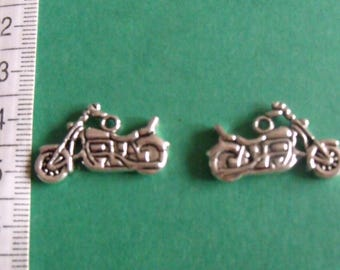set of 2 silver motorcycle charms 15mmx25mm