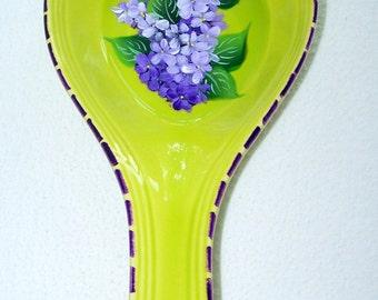 Spoon Rest lime green or yellow with purple lilacs