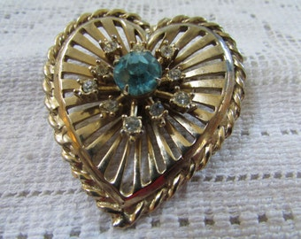 vintage 50's large heart with blue and clear  rhinestones wedding bridal  Valentine  pin brooch