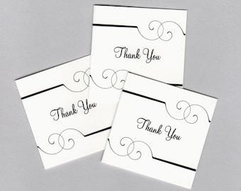 Black Swirl Mini Thank You Card • Gift Card • Printed Mini Thank You Card • 2x2